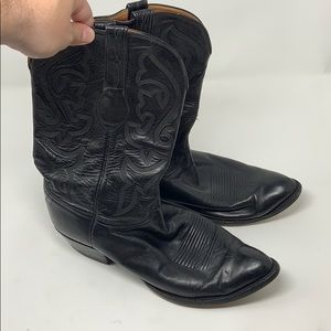 Men's Lucchese handmade black leather cowboy boots